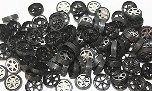 WP-TT 100pcs Plastic Roll 2mm Dia Shaft Car Truck Model Toys Wheel (30mmx9mm ) (Toy Wheels Plastic)