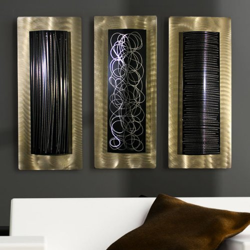 Abstract Gold and Black Multi-Piece  Metal Wall Accents