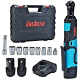 ENEACRO Cordless Electric Ratchet Wrench Set, 3/8'Variable Speed 35ft-lbs with Two Packs of 12V 2.0AH Li-ion Batteries and Fast Charger Tool Kit