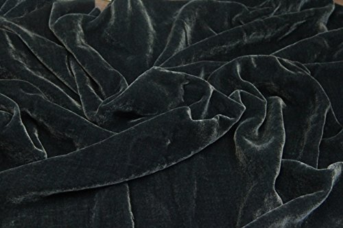 "100% SILK VELVET SOLID FABRIC 45""W CLOTHING,DRAPERY,DRESSES 30 COLOR BY THE YARD (CHARCOAL)"