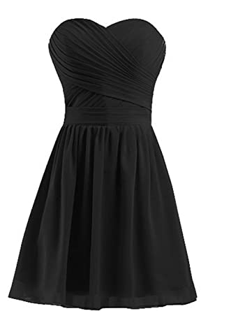 43047e775b macria Women s Bridesmaid Dresses Short Strapless Sweetheart Chiffon Prom  Gowns 2 Black