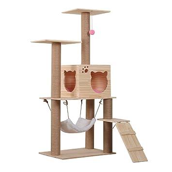 DJLOOKK Árbol rascador para Gatos Árbol del Gato Juguete del Gato Lujo 3 Pisos Casa del