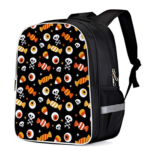 Unisex Durable School Backpack- Halloween Candy and Eyeball Skull, Lightweight Oxford Fabric School Bags with Reflective Strip Daypack Laptop Bags -