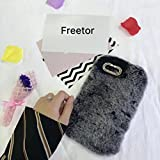 Fluffy and bling iPhone Case.Soft warm rabbit furry cover with bling camera cutout. A good winter gift for iphone 7 plus /iphone 8 plus. (grey)