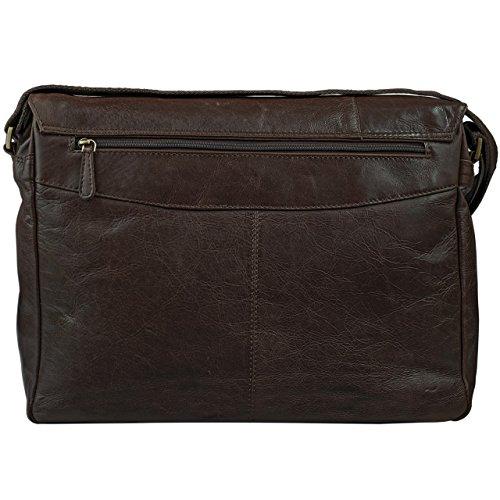 STILORD Borsa in Pelle Bolso de piel vintage hombres para notebooks 15.6'' Borsa de cuero auténtico de búfalo marrón oscuro