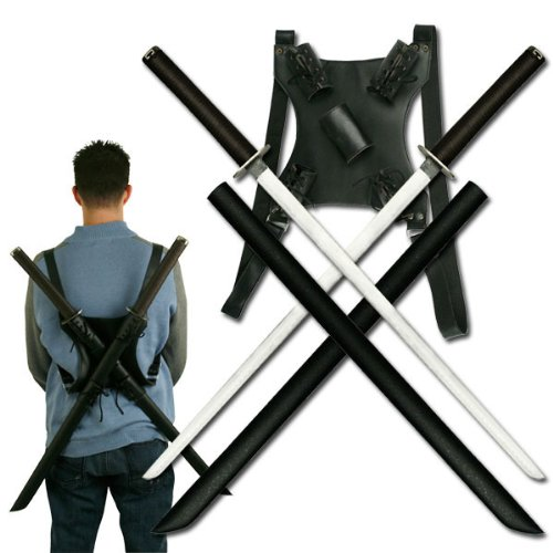 Ace Martial Arts Supply Leonardo Dual Ninja Swords with Back Carrying Scabbard