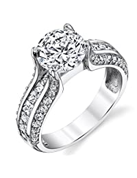 Metal Masters Co.® Sterling Silver and 2 Carat Round Brilliant Cut Cubic Zirconia Wedding Engagement Ring Band