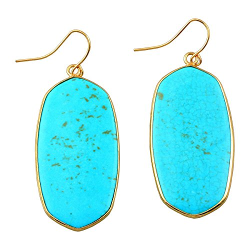 rockcloud Blue Howlit Turquoise Stone Dangle Hook Earrings Oval Gold (Color Stones Dangle Earrings)