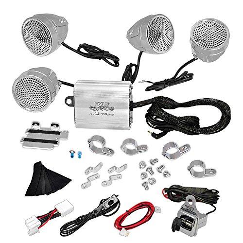 (Updated Premium Motorcycle Audio System - 1200 Watts Speaker and Amplifier - ATV/Snowmobile Mount 4 Channel - 4 3.25-Inch Waterproof Speakers, Handlebar Mount Aluminum Die-cast - Set of 4)