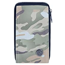 liangdongshop Casual Style Unisex Multi-Function Waist Pack Cell Phone Bag Chest Pouch with Carabiner & Belt Fastener & Neck Strap(Camouflage)