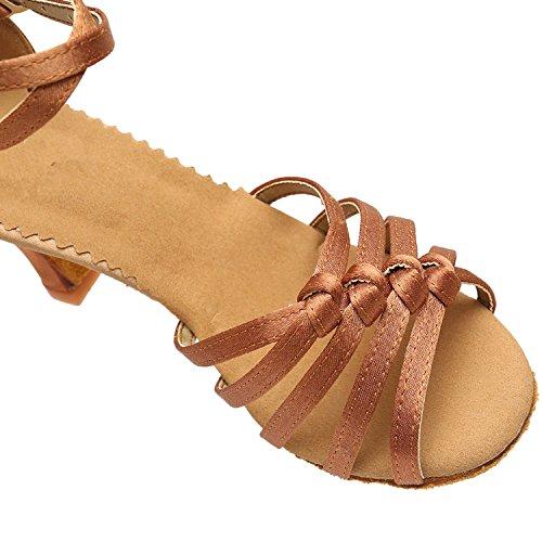 Azbro Mujer Zapato de Baile Fiesta Correa Cruzada Puntera Abierta Marrón Profundo