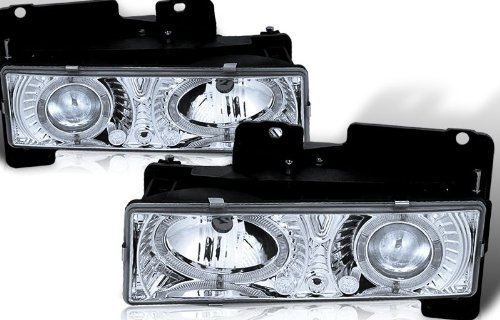 89 89 90 91 92 93 94 95 96 97 98 Chevy C/K 1500/2500/3500 Full Size/Tahoe/Suburban, GMC C10 Pickup/Suburban/Yukon Projector Headlights - Chrome (pair)