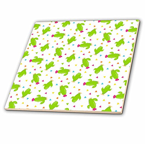 3dRose Anne Marie Baugh - Patterns - Cute Flowering Saguaro Cactus and Triangles Pattern - 8 Inch Glass Tile (Saguaro Glass)