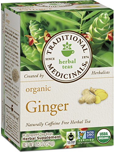 Traditional Medicinals Organic Ginger Herbal Leaf Tea, 16 Tea Bags (Pack of 6)