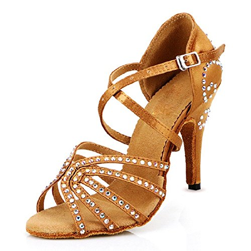DLisiting Womens Ballroom Dance Shoes Brown Satin Rhinestone Salsa 4'' Heel Latin Dance Shoes (US9.5)