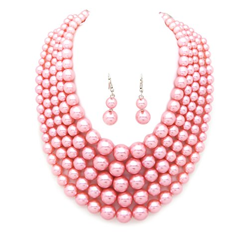 Women's Simulated Faux Pearl Five Multi-Strand Statement Necklace and Earrings Set (Faux Pearl Multi Strand Necklace)