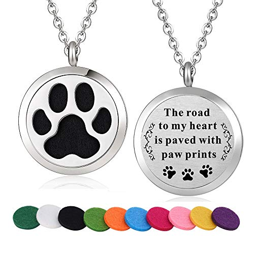 WPFdesign Stainless Steel Dog Paw Aroma Therapy Aromatherapy Essential Oil Diffuser Necklace Locket Pendant (Style 17)