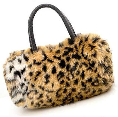 SUKRAGRAHA Leopard Pattern Smooth Faux Fur Handbag ()