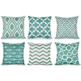 Spritumn 6-Pack Geometry Pattern Home Decor Square Cushion Covers Blue 18 x 18