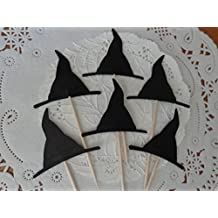 Witch Hat Cupcake Toppers - Halloween Party Picks - Food Picks - Samhain Party (Set of 12)