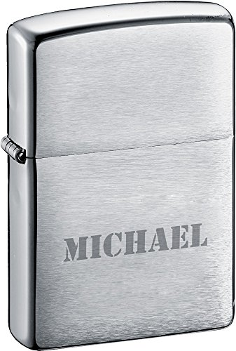 Personalized Brushed Chrome Zippo Lighter With Free Engraving