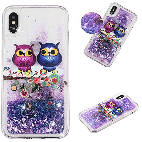Glitter Case for iPhone X/iPhone Xs,QFFUN Bling Floating Liquid Quicksand Soft Clear Slim Fit Silicone Case with Screen Protector Shockproof Anti-Scratch Bumper Protective Cover - Owl
