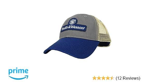 e65b49b41f3637 Amazon.com: Smith & Wesson Men's Blue/Gray Patch Logo Cap: Sports & Outdoors