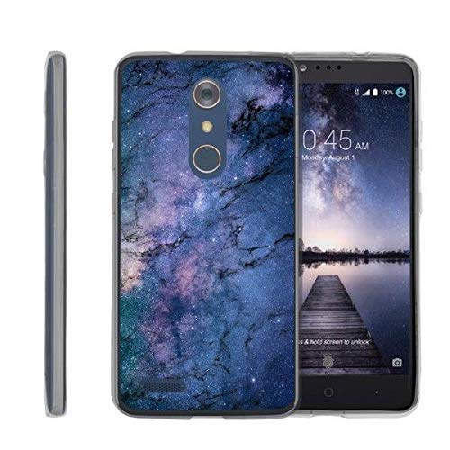 TurtleArmor | Compatible with ZTE ZMax Pro Case | ZTE Blade X Max Case [Flexible Armor] Flexible Slim Fitted TPU Bumper Case Cover - Marble Galaxy