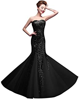 DLFASHION Womens Sweetheart Meramid Formal Sequin Long Prom Dress