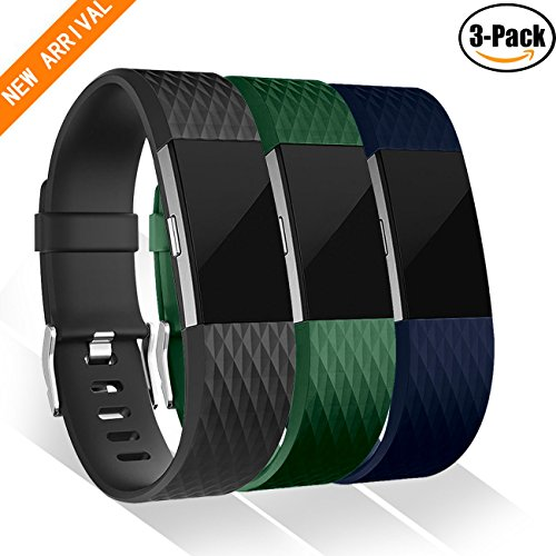GEAK Fitbit Charge 2 Bands 3 Pack, Special Edition Sports Replacement Bands for Fitbit Charge 2, Large and Small