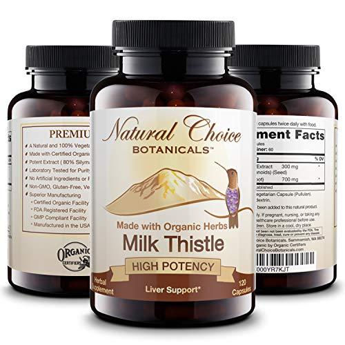 Certified Organic Milk Thistle Extract (80% Silymarin Flavonoids) Plus Turmeric - 120 Veggie Capsules