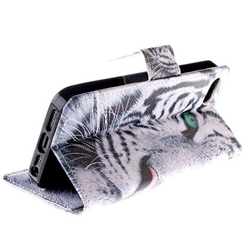 tête de tigre Tiger individualité tendance animal bête sauvage design portefeuille supporter PU cuir couverture de flip housse coque étui pour Apple iPhone 5 5s