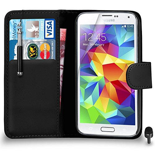 best sneakers 43ebc c6e7c Premium Leather BLACK Wallet Flip Case FOR Samsung Galaxy S5 Case Cover  with Retractable Touch Stylus Pen Screen Protector & Polishing Cloth Black  ...