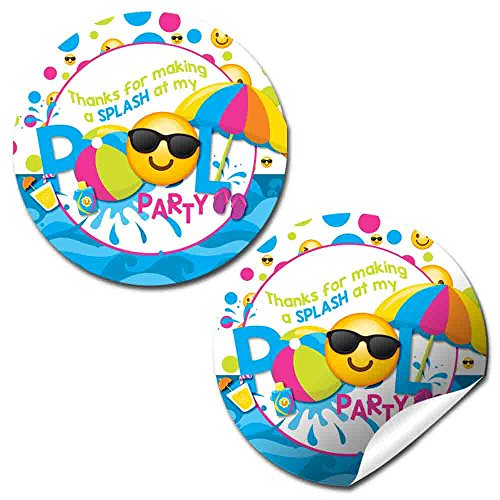Emoji Pool Party Thank You Sticker Labels for Girls, 40 2