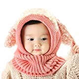 Baby Girls Boys Toddler Winter Hat Scarf Set Cutest Earflap Hood Warm Knit Hat Scarves with Ears Snow Neck Warmer Wool Skull Cap Christmas Gift for Kids 6-36 Months