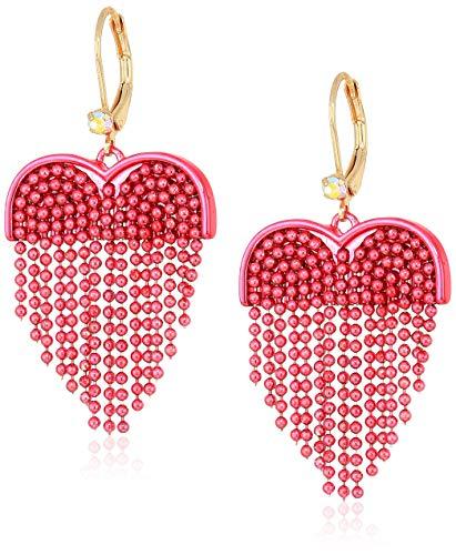 Earrings Jewelry Drop Heart (Betsey Johnson (GBG) Women's Pink Fringe Heart Drop Earrings, Pink Multi, One Size)