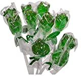 12 Inch Long Roses Shaped Lollipops Suckers- 10 COUNT Bendy Flexible Sticks (Green)