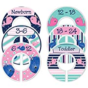 Mumsy Goose Nursery Closet Dividers, Closet Organizers, Baby Girl Clothes Dividers Navy Whales