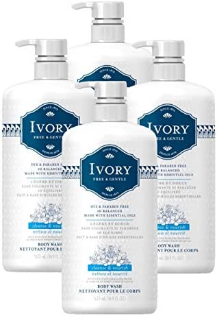 Ivory Free & Gentle Cleanse & Nourish Body Wash with Pear & Sandalwood Scent, 16.9 Fluid Ounce (Pack of 4)