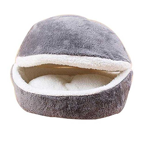 Cat Sleeping Bed (Hamburger/ Burger Design Pet Bed Shell Shaped Cat Sleeping Bag (Grey))
