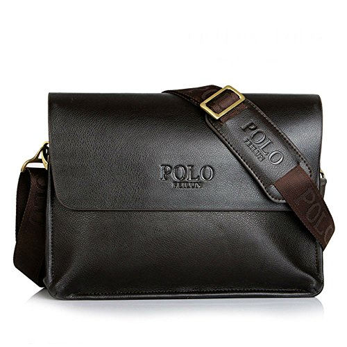 POLO FEILUN Men's Genuine Leather Briefcase Business Composite Leather Classic Casual Bag Shoulder Messenger Satchel Bags for everday use 12
