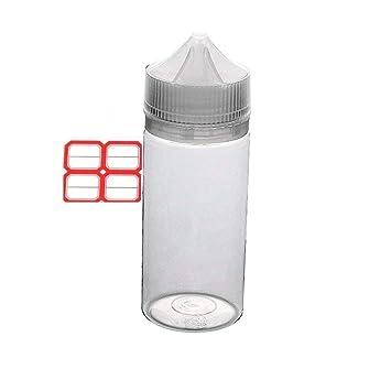 Eliquid Gorilla - Botella de plástico con etiquetas, 100 ml, 10 unidades, apretable