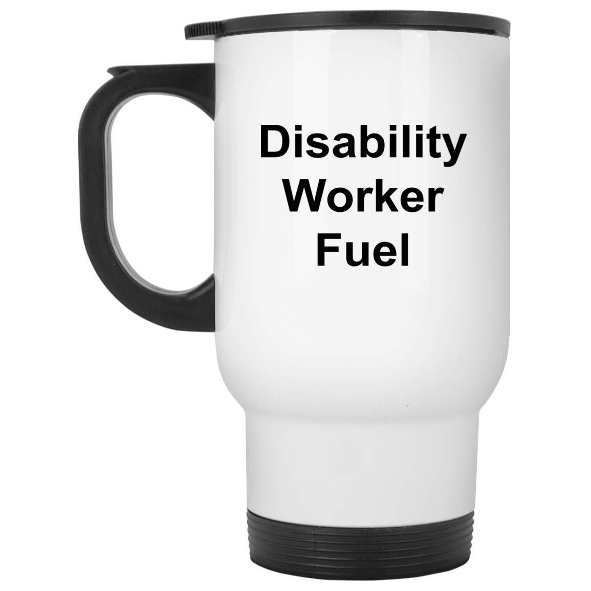 Disability Worker トラベルマグ - 14オンス ホワイトステンレススチール - おもしろノベルティギフトアイデア   B07HPGYLJJ