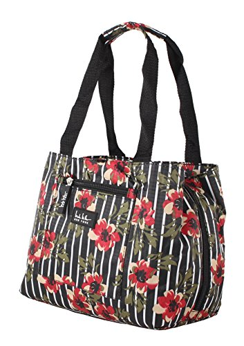 Nicole Miller of New York Insulated Lunch Cooler 11 Lunch Tote (Flower Black) - Flower Tote Bag