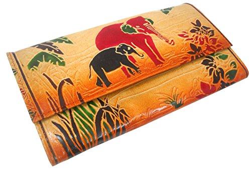 Jungle Elephants Design Genuine 100% Pure leather Embossed Handmade Colorful Shantiniketan Hand Purse