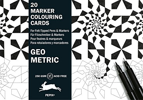 Geometric: Marker Colouring Cards Book (English, Spanish, French and German Edition)
