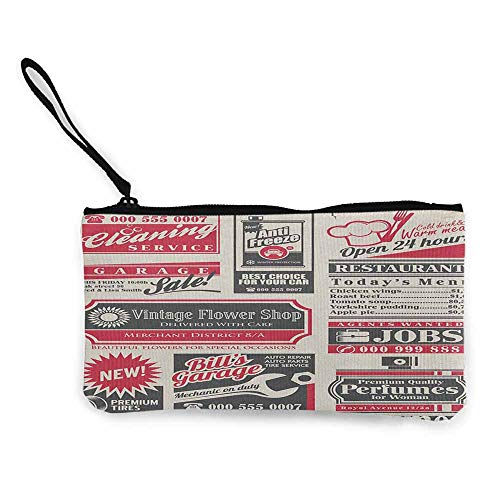 Women's hand bag clutch bag Retro Retro Newspaper Magazine Design Outdated Layout Different Topics Title Artwork Wallet Coin Purses Clutch W 8.5