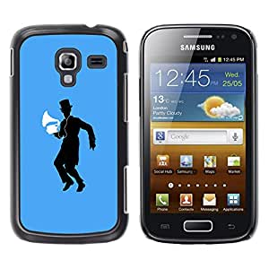 Qstar Arte & diseño plástico duro Fundas Cover Cubre Hard Case Cover para Samsung Galaxy Ace 2 I8160 / Ace2 II XS7560M ( Music Vintage Machine Man Hat Black Dance)