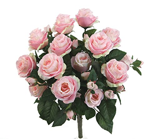 (Admired By Nature GPB7338-LT.PK 5 Stems Faux 15 Head Rose Bud Flower Bush, Light)