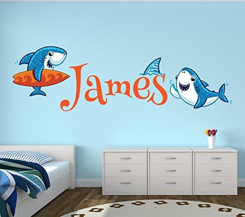 Lovely Decals World LLC Custom Shark Name Wall Decal Nautical Nursery Baby Room Mural Kids Art Decor Vinyl Sticker LD18 (52